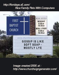 Fake church sign from fun website