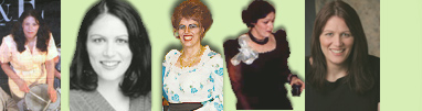 Dana's Page Header with a few tiny pix from her past theatre projects - Left to Right - Wendy from Angry Housewives, a 1998 headshot, Mrs. Mullin from Carousel, Sybil Birling from An Inspector Calls, and a 2008 headshot